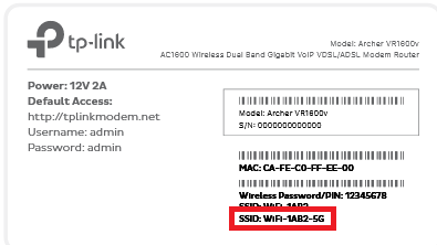 Modem barcode sticker example 5GHz WiFi