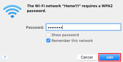 macOS WiFi password entry screenshot