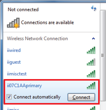 Windows 7 WiFi networks list screenshot