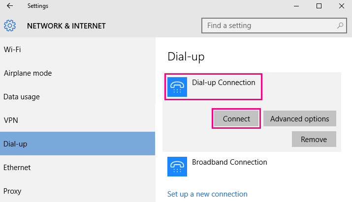 Windows 10 Dial up settings screenshot